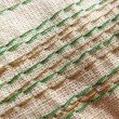 Stock Photo: Embroidery stitches on fabric. Background. Macro. Manual work.