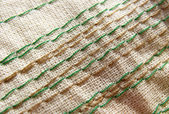 Embroidery stitches on the fabric. Background. Macro. Manual work. — Stock Photo