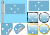 Flag Set Federated States of Micronesia — Stock Vector