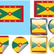 Stock Vector: Flag Set Grenada