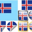 Stock Vector: Flag Set Iceland