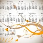 2012 calendario floral en colores de otoño — Vector de stock