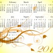 2012 Floral Calendar in Summer Colors — 图库矢量图片