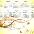 2012 calendario floral en colores de verano — Vector de stock