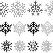Set of 16 Snowflakes - Stock Vector