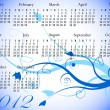 2012 Floral Calendar in Winter Colors — Imagen vectorial