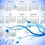 2012 calendario floral en colores de invierno — Vector de stock