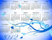 2012 Floral Calendar in Winter Colors — Stockvector