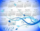 2012 Floral Calendar in Winter Colors — Stock Vector