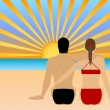 A Couple Watching the Sunset at the Beach — Stock Vector