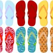 Set of 6 Colorful Sandals - Stock Vector
