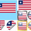 Stock Vector: Flag Set Liberia