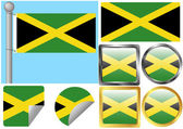 Flag Set Jamaica — Stock Vector