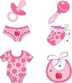 Kinderen kleding en accessoires. — Stockvector
