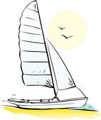 Sailing boat on seacoast — Stock Vector
