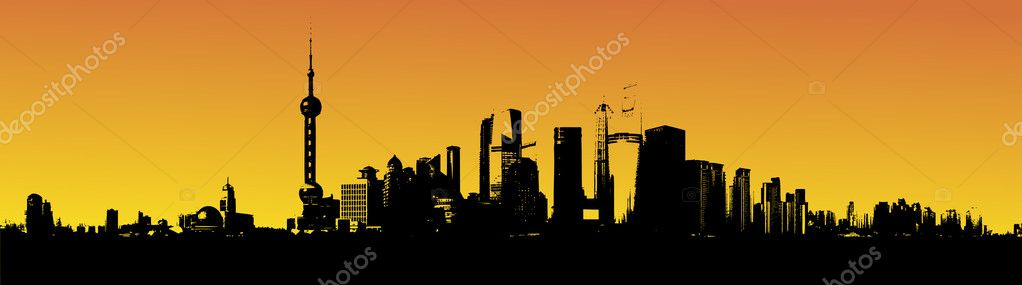 Shanghai skyline in the sunset illustration — Stock Photo #5985258