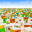 Cartoon town. Colored cartoon buildings - Stock Photo