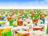 Cartoon town. Colored cartoon buildings — Stock Photo