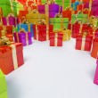Colour boxes of gifts Holiday clipart — Stock Photo