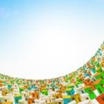 Cartoon town. Colored cartoon buildings — Stock Photo