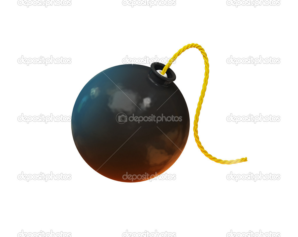 Black bomb isolated on the white background   Stock Photo #6378580
