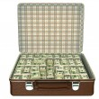 Million dollars in suitcase - Stock Photo