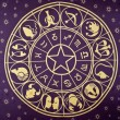 Stock Photo: Wheel of Zodiac symbols