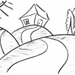 Pencil sketch of funny house — Stockfoto
