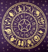 Wheel of Zodiac symbols — ストック写真