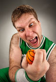 Bizarre basketball player — Stock Photo