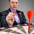 Businessman aiming to target — Stock Photo