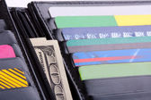Wallet with credit cards and money — Stock Photo
