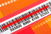 Bar code with red scanner laser — ストック写真