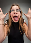 Insane business woman — Stock Photo