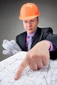 Pensive contractor — Stock Photo