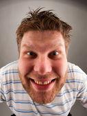 Retrato de homem bizarro a sorrir — Fotografia Stock