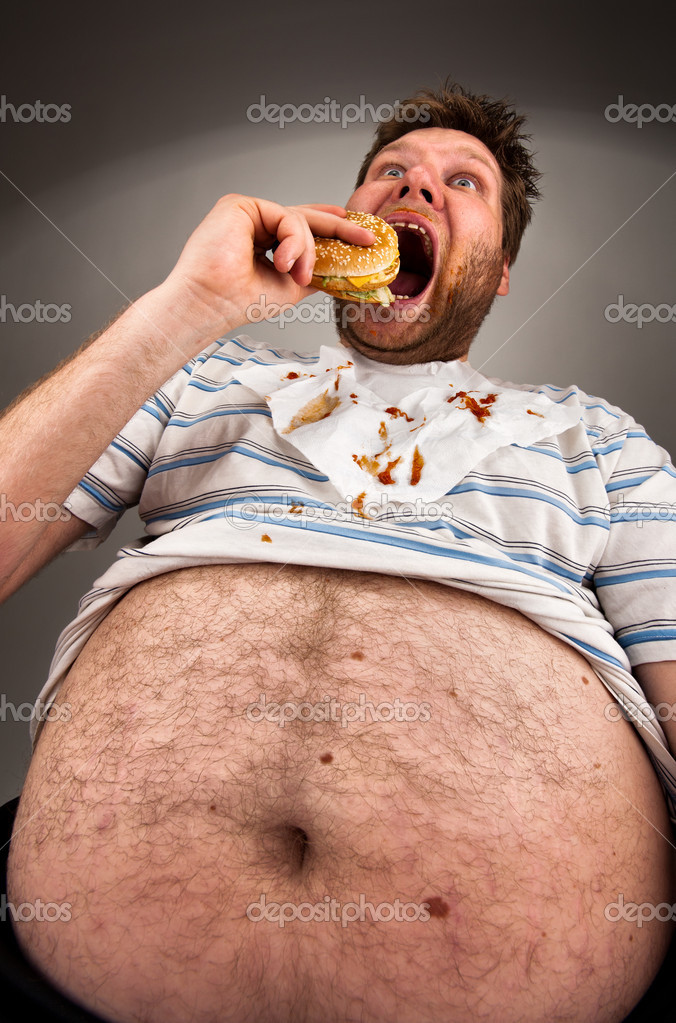Portrait of expressive fat man eating burger — Stock Photo #5590549