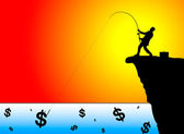 Silhouette of businessman fishing for money — Stock Photo