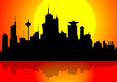Downtown cityscape at sunset — Stock Photo