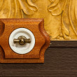 Antique wooden light switch — Stock Photo