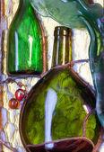 şarap tema vitray bileşimi — Stok fotoğraf