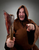 Furious medieval executioner — Stock Photo