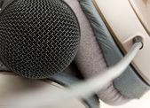 Professional studio microphone and headphones — Stock Photo