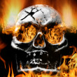 Scary flaming skull - Stock Photo