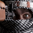 Scared aimed middle eastern man — Stock Photo