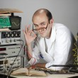 Scientist at vintage laboratory — Stock Photo