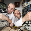 Two funny nerd scientists — Stock Photo