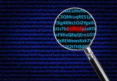 Magnifying glass focused on virus — Stock Photo
