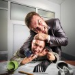 Businessmen fighting for agreement signing — Stock Photo