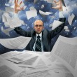 Serious businessman manipulating papers — Foto de Stock